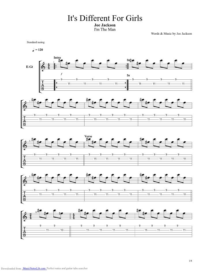 Its Different For Girls Guitar Pro Tab By Joe Jackson
