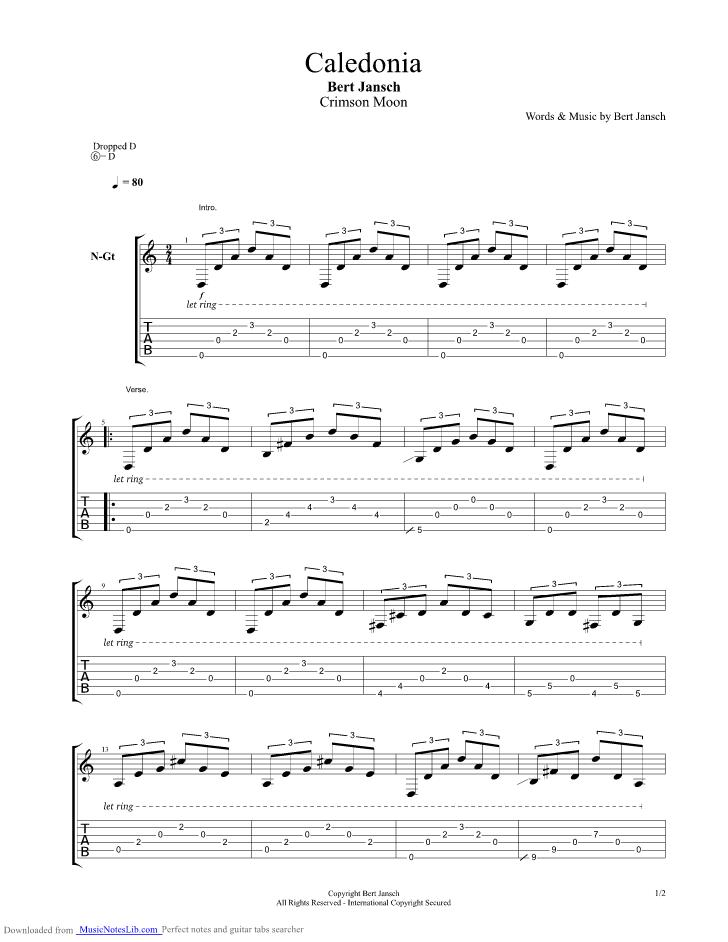 Caledonia Guitar Pro Tab By Bert Jansch Musicnoteslib
