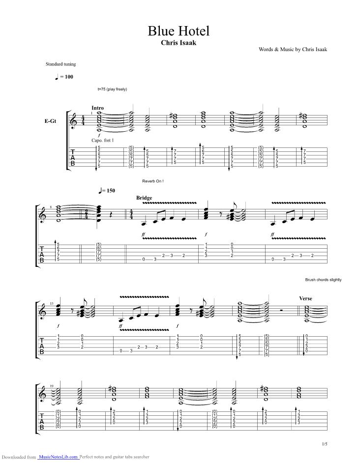 Blue Hotel guitar pro tab by Chris Isaak @ musicnoteslib.com