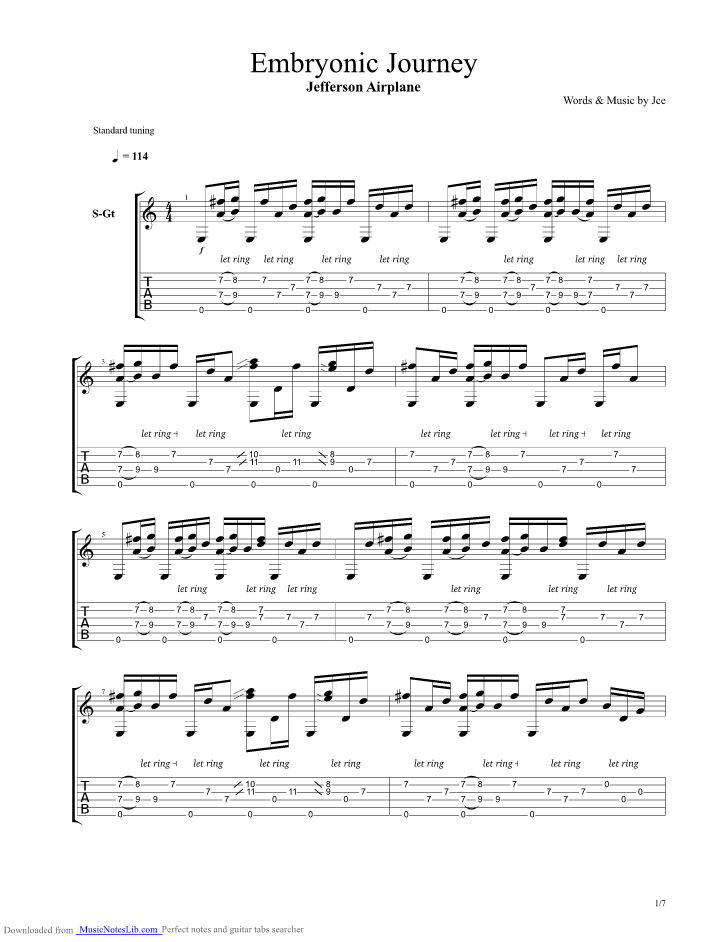 Embryonic Journey guitar pro tab by Jefferson Airplane ...