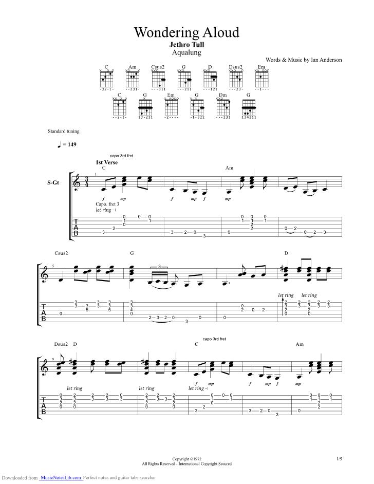 Wondering Aloud guitar pro tab by Jethro Tull musicnoteslib
