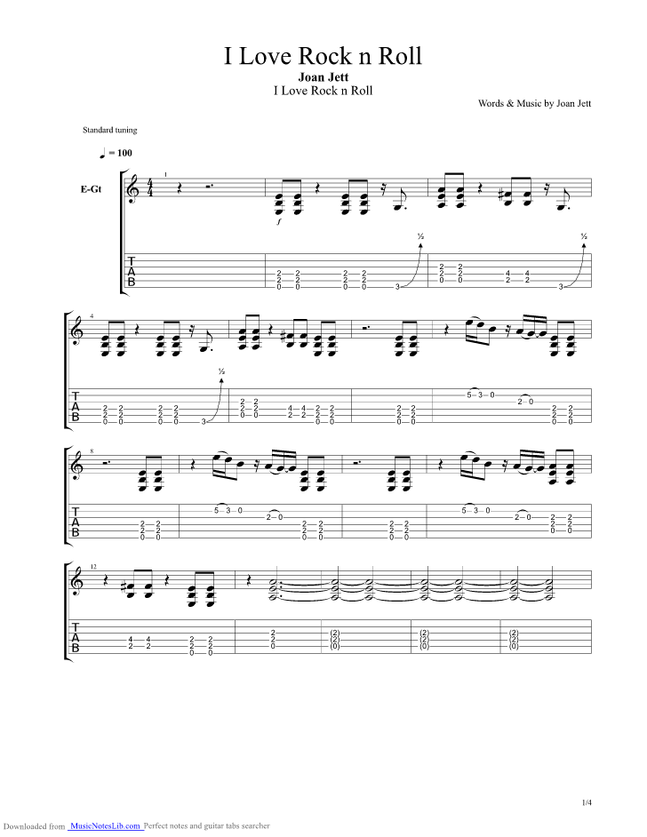 I Love Rock And Roll Guitar Pro Tab By Joan Jett Musicnoteslib