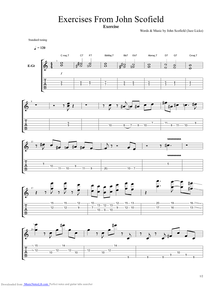 Exercises From John Scofield guitar pro tab by Jazz Licks ...