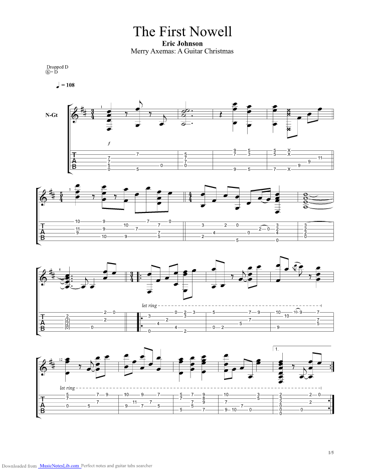 The First Nowell guitar pro tab by Eric Johnson @ musicnoteslib.com