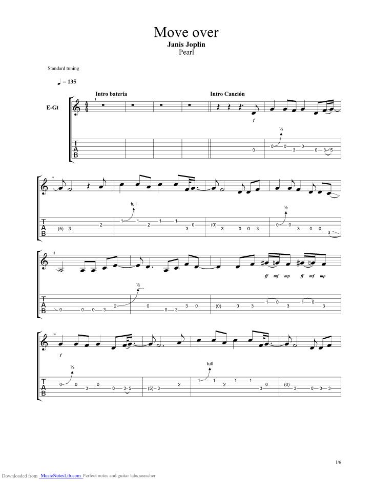Move Over guitar pro tab by Janis Joplin @ musicnoteslib.com
