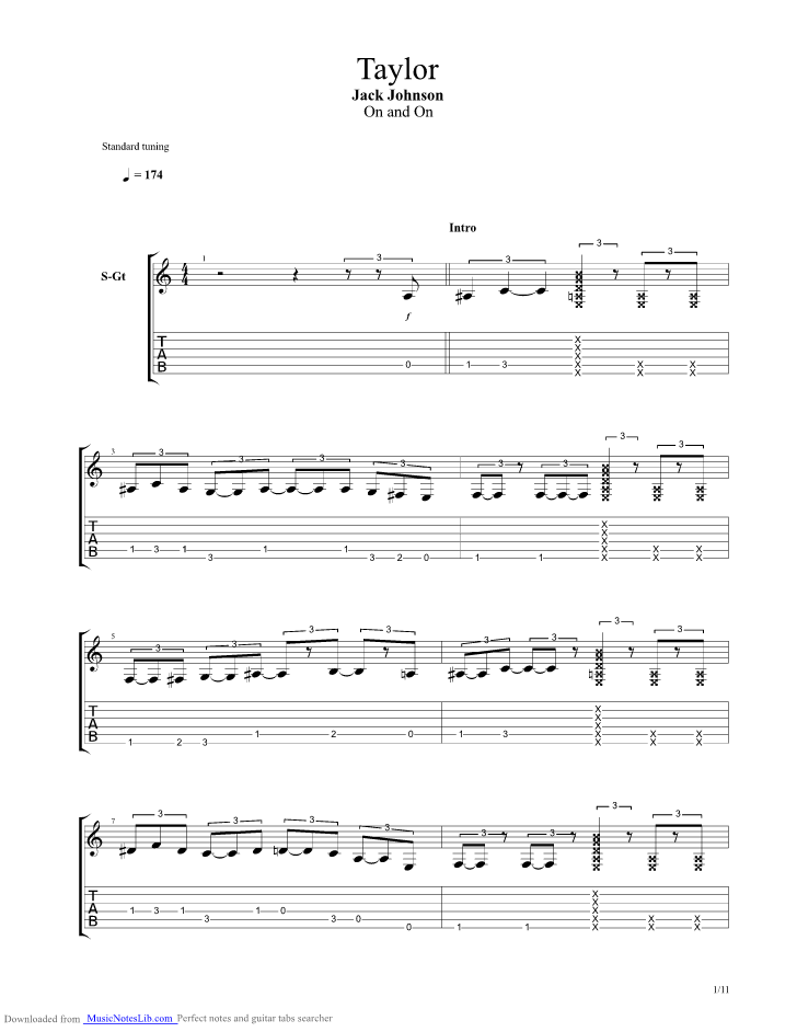 Taylor Guitar Pro Tab By Jack Johnson Musicnoteslib