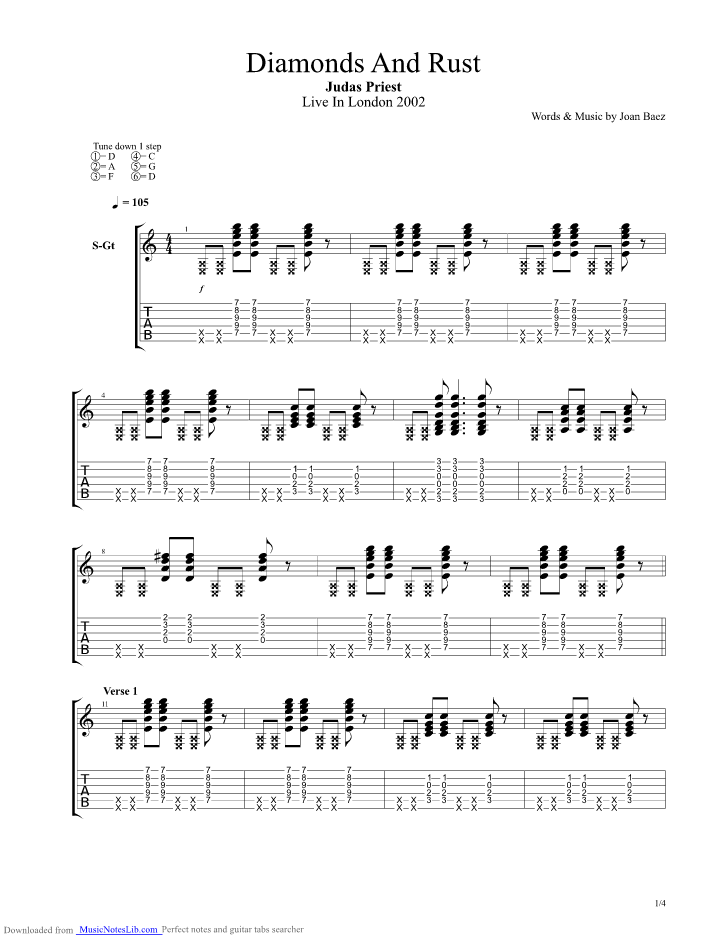 Diamonds And Rust Guitar Pro Tab By Judas Priest Musicnoteslib