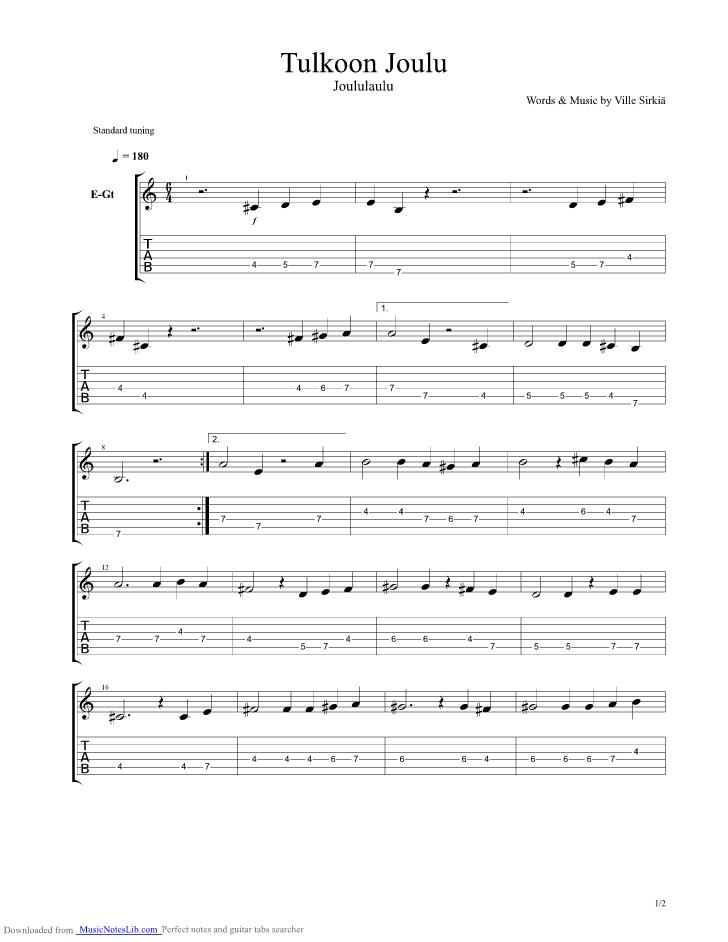 joululauluja kitaralla
