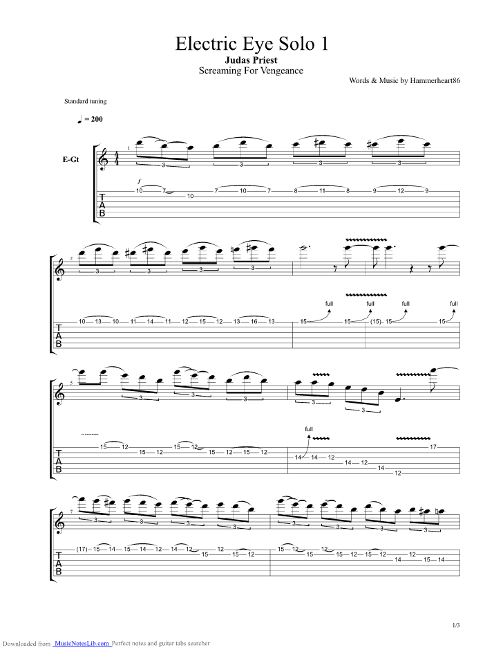 electric eye solo 1 guitar pro tab by judas priest. Black Bedroom Furniture Sets. Home Design Ideas