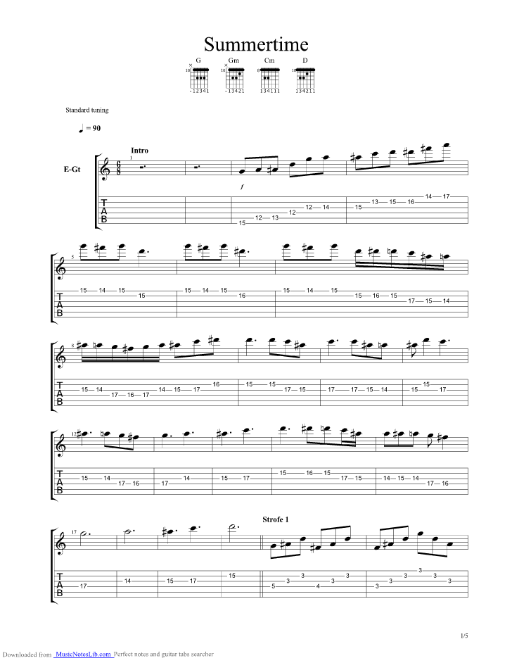 Summertime Studio Version Guitar Pro Tab By Janis Joplin