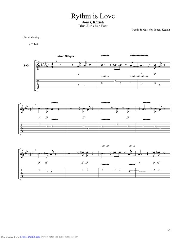 Rythm Is Love guitar pro tab by Keziah Jones @ musicnoteslib.com