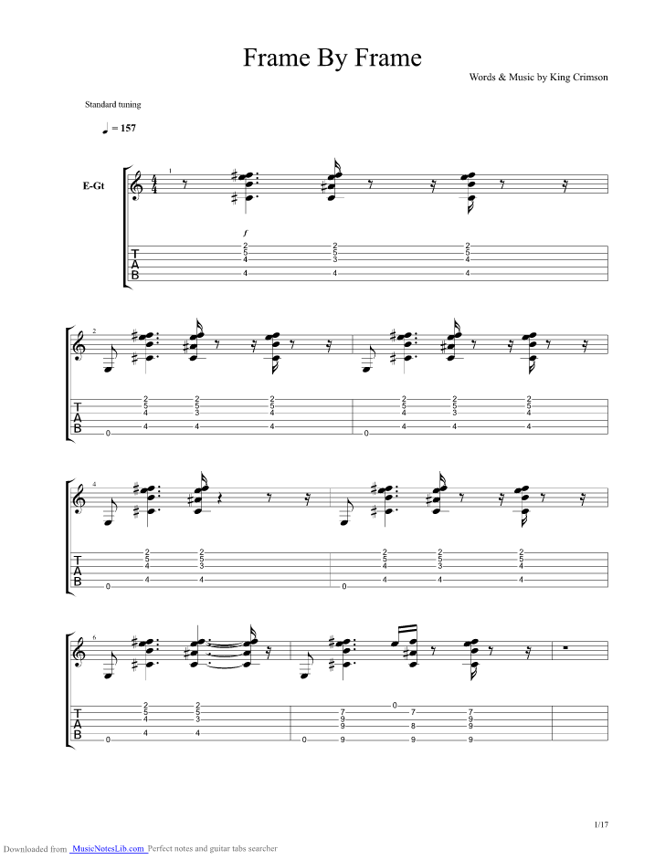 Frame By Frame guitar pro tab by King Crimson @ musicnoteslib.com