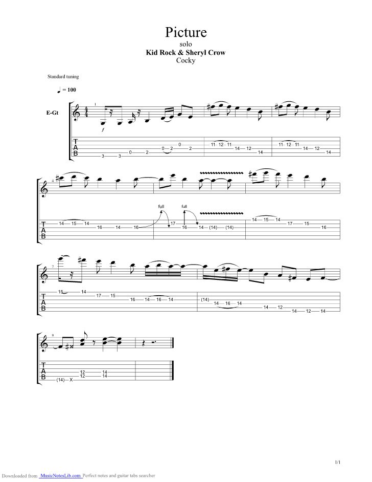 Picture Kid Rock Acoustic Chords