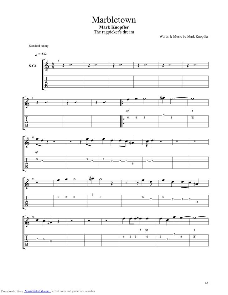 Marbletown guitar pro tab by Mark Knopfler @ musicnoteslib.com