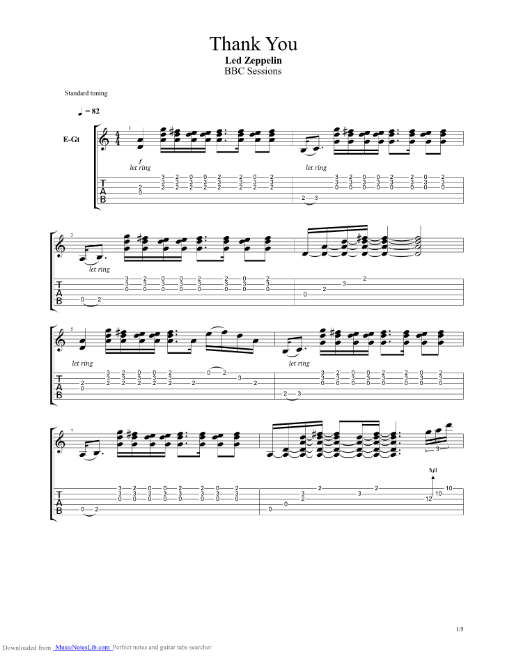 thank you bbc sessions guitar pro tab by led zeppelin. Black Bedroom Furniture Sets. Home Design Ideas