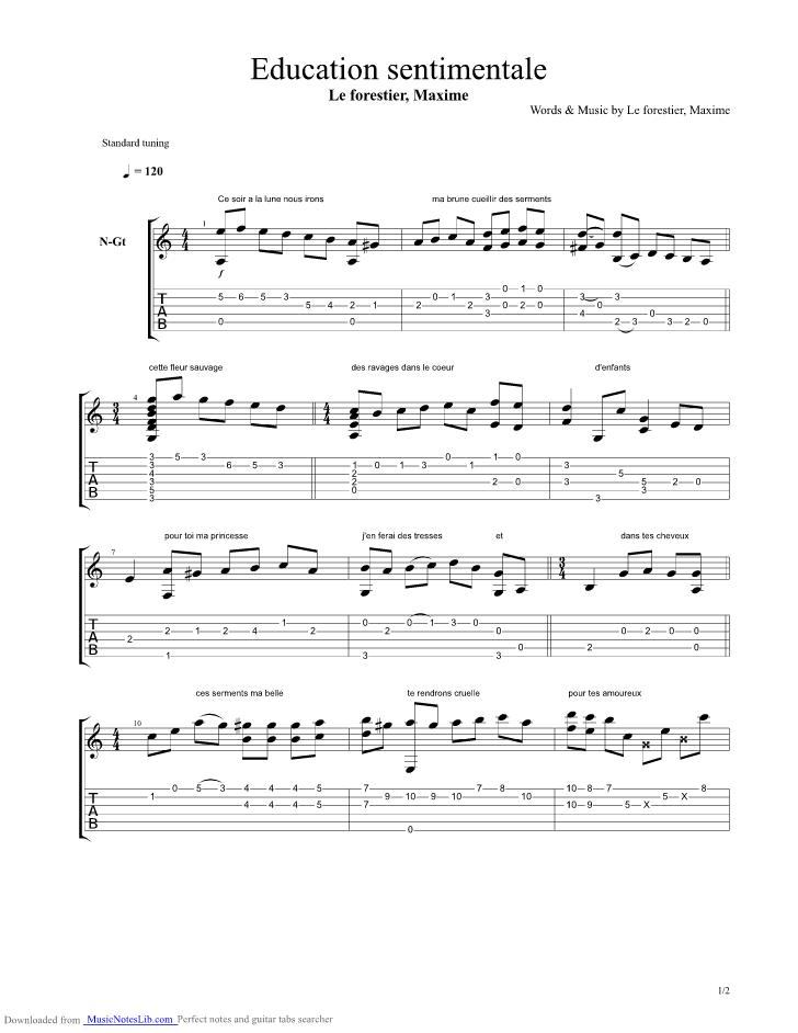 partition guitare maxime le forestier