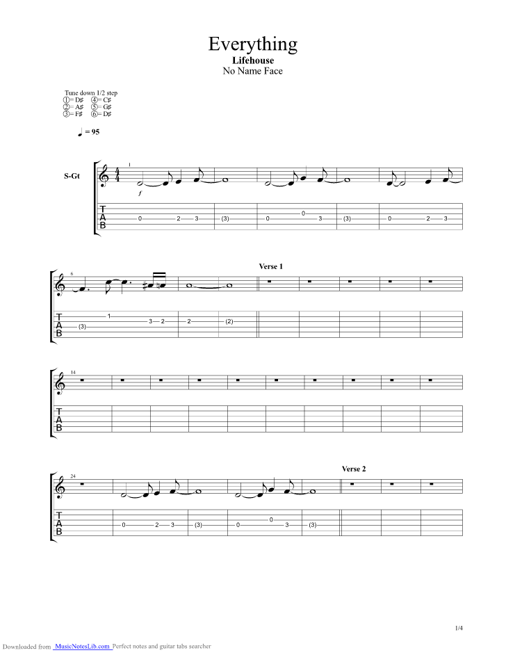 Everything guitar pro tab by Lifehouse @ musicnoteslib.com