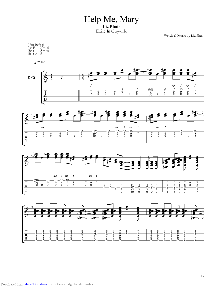Help Me Mary Guitar Pro Tab By Liz Phair Musicnoteslib