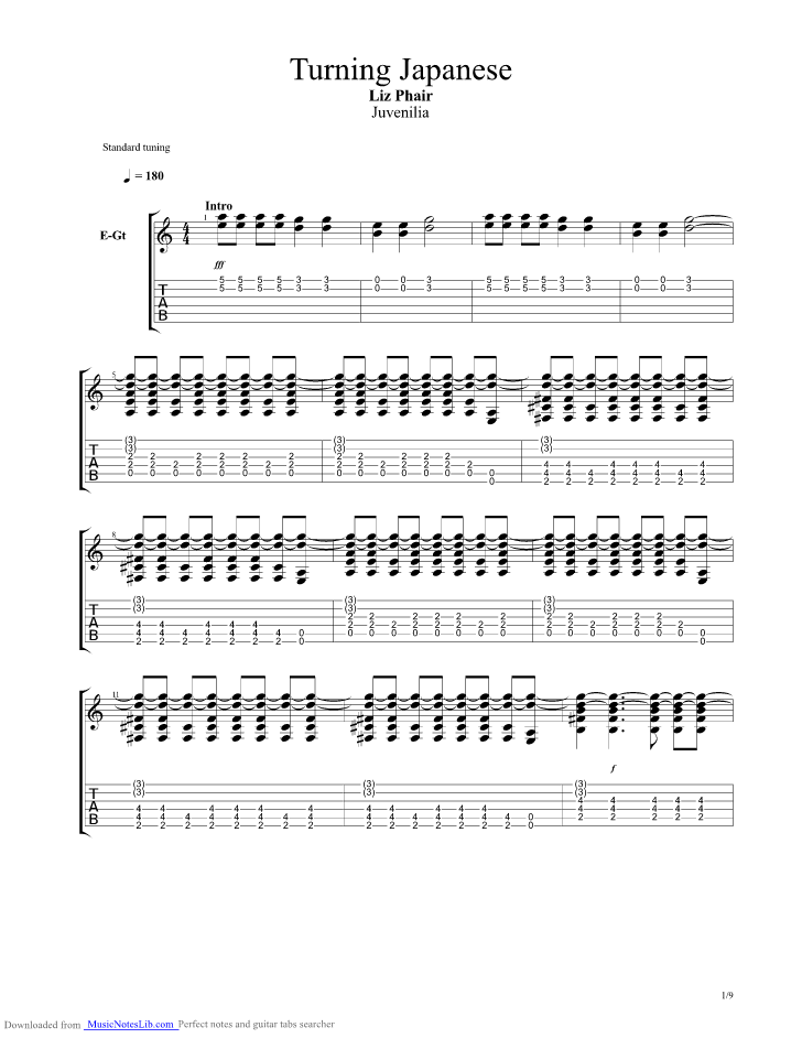 Turning Japanese Guitar Pro Tab By Liz Phair Musicnoteslib