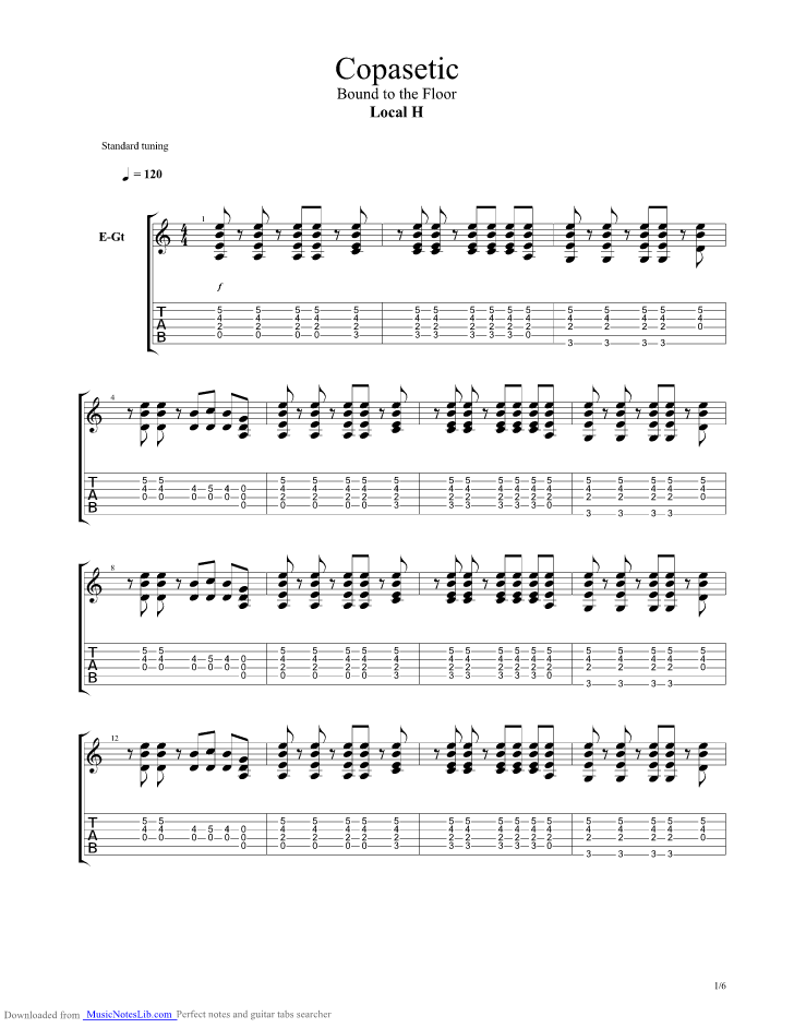 Copasetic guitar pro tab by Local H