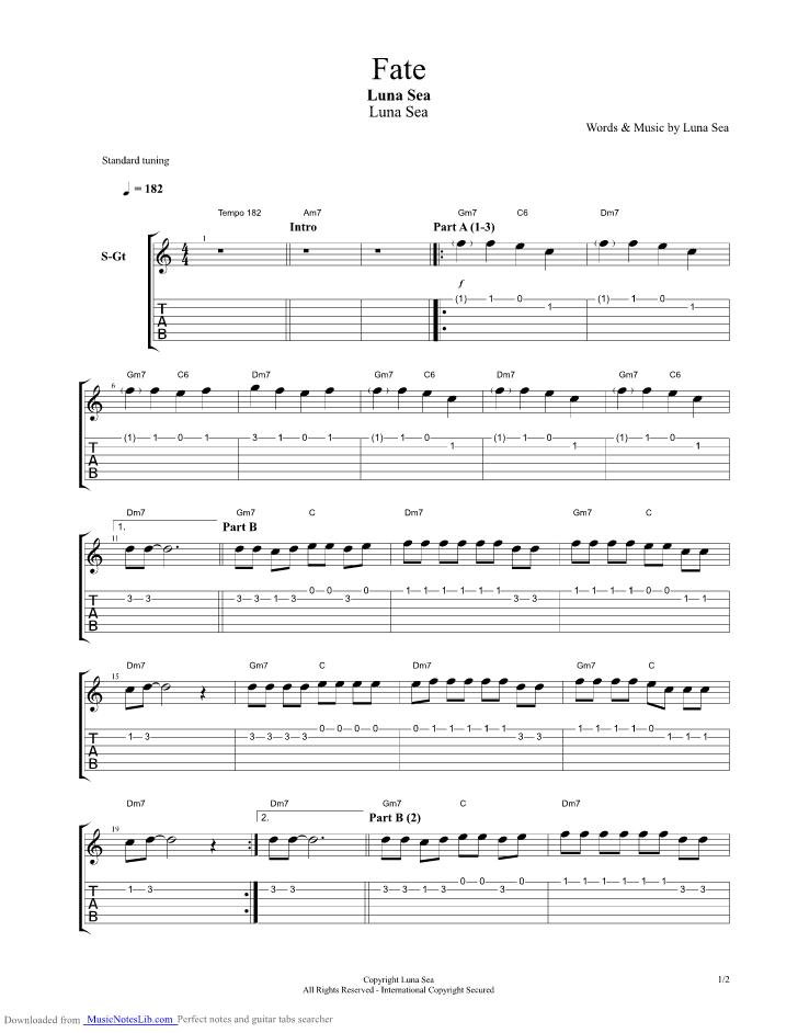 Fate Guitar Pro Tab By Luna Sea Musicnoteslib