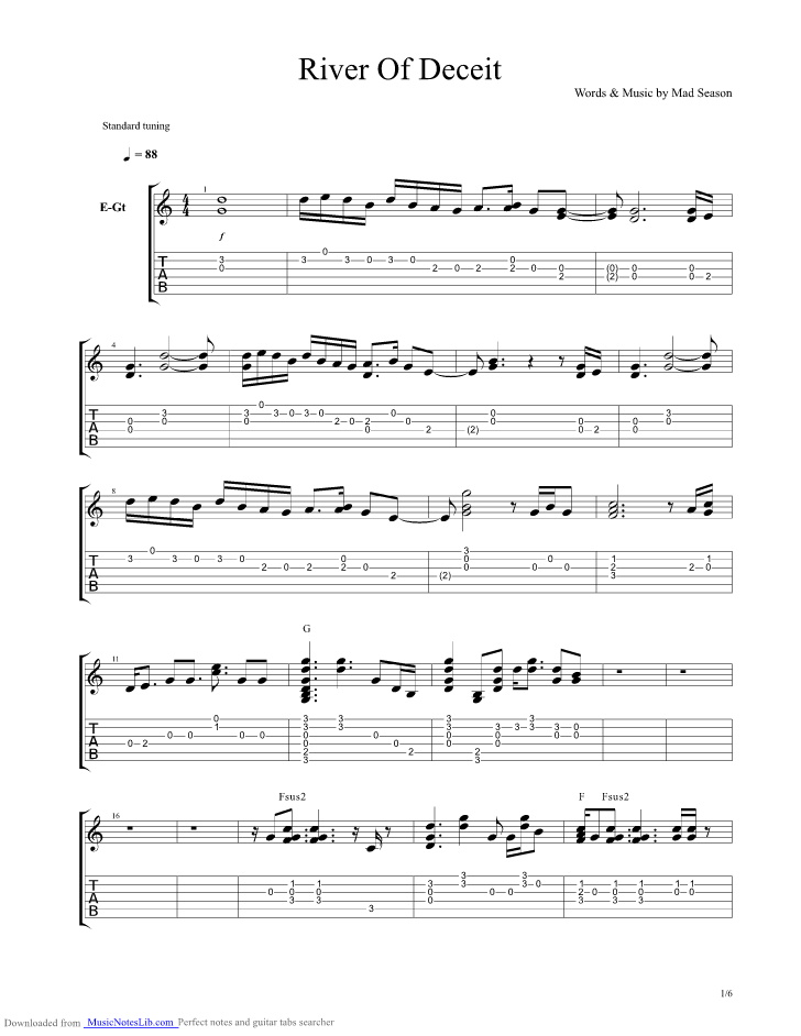 River Of Deceit guitar pro tab by Mad Season @ musicnoteslib.com