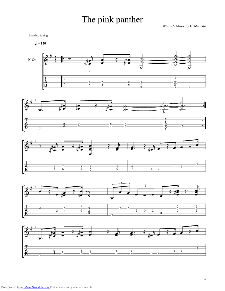 The Pink Panther Guitar Pro Tab By Breakfast At Tiffanys
