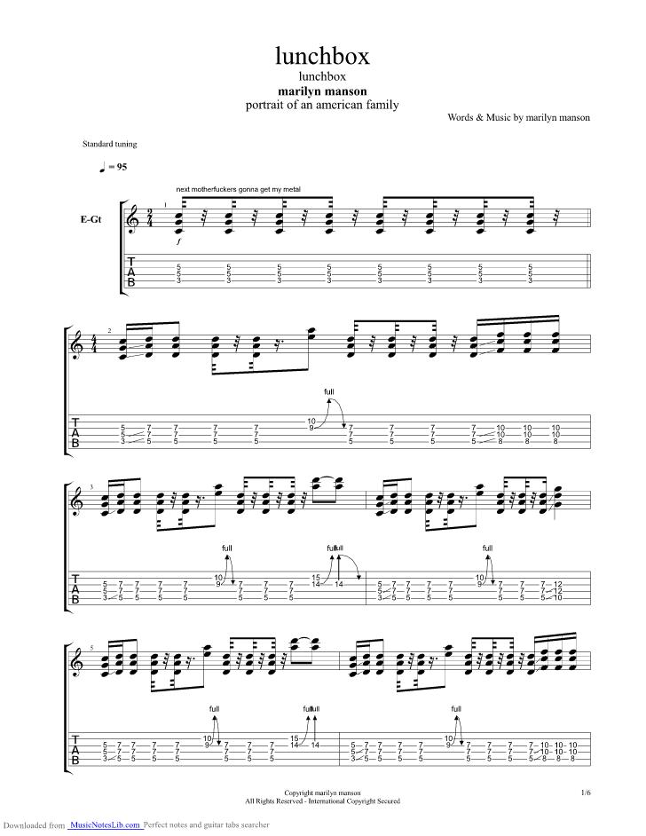 Lunchbox Guitar Pro Tab By Marilyn Manson Musicnoteslib