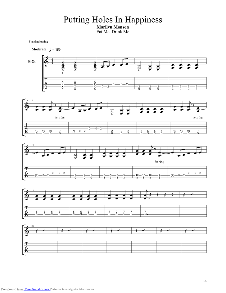Putting Holes In Happiness Guitar Pro Tab By Marilyn Manson