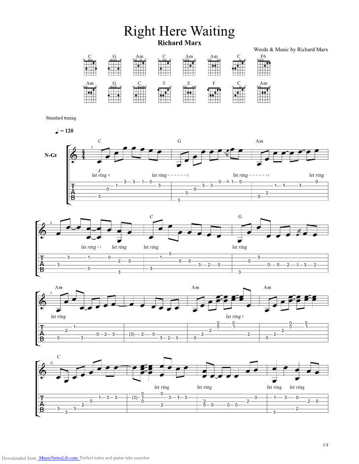 Right Here Waiting guitar pro tab by Richard Marx @ musicnoteslib.com