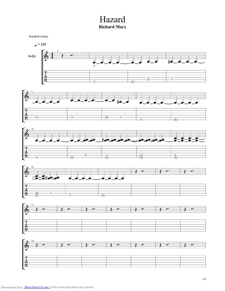 Hazard Guitar Pro Tab By Richard Marx Musicnoteslib