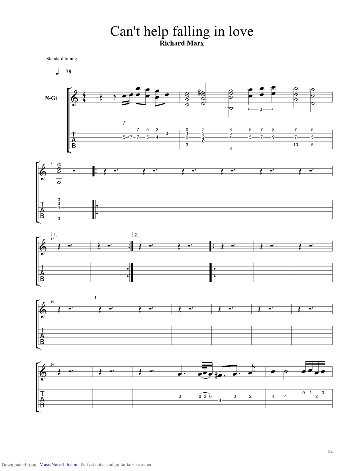 Can T Help Falling In Love Guitar Pro Tab By Richard Marx