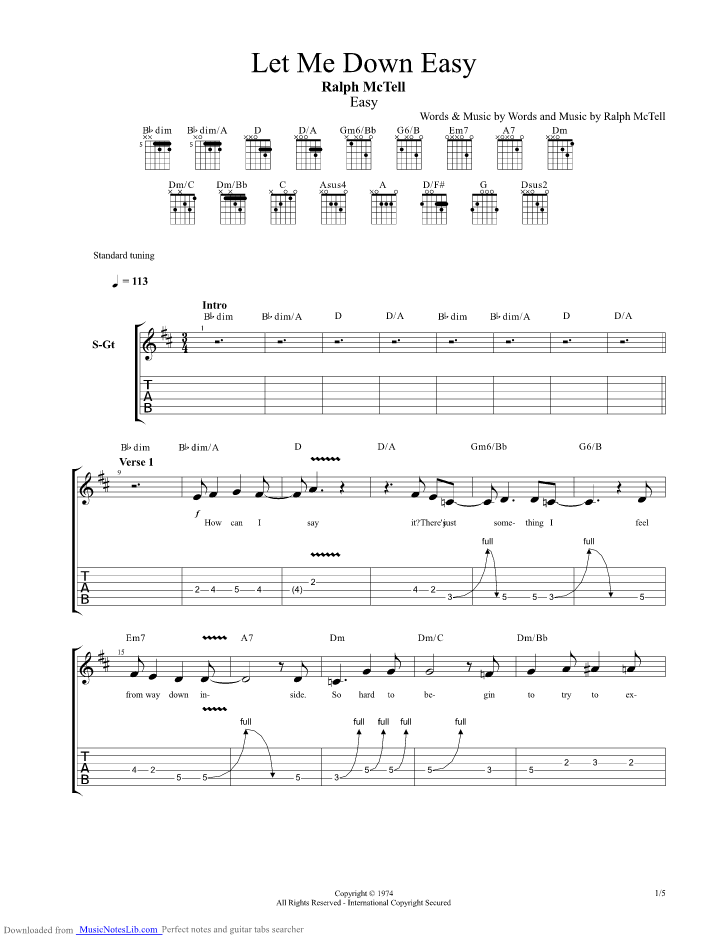 Let Me Down Easy Guitar Pro Tab By Ralph Mctell Musicnoteslib