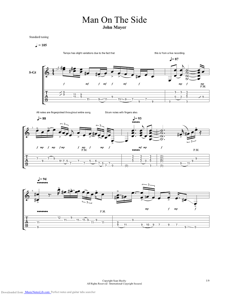 Man On The Side guitar pro tab by John Mayer @ musicnoteslib com