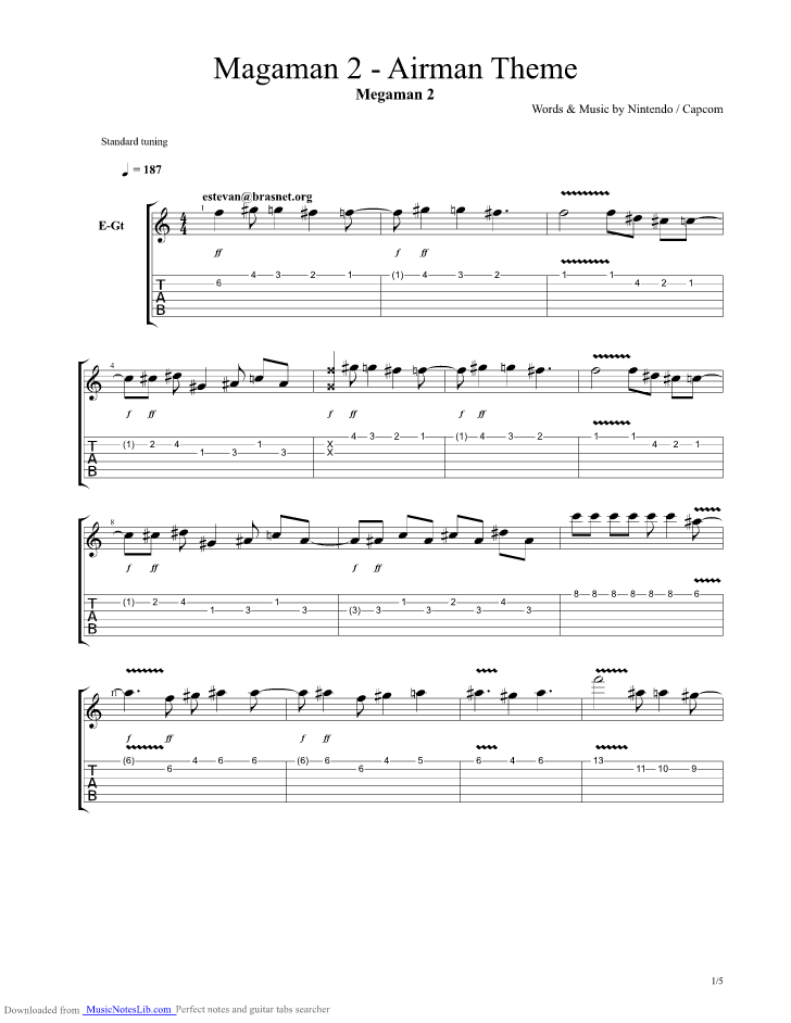 Airman Theme From Megaman 2 Guitar Pro Tab By