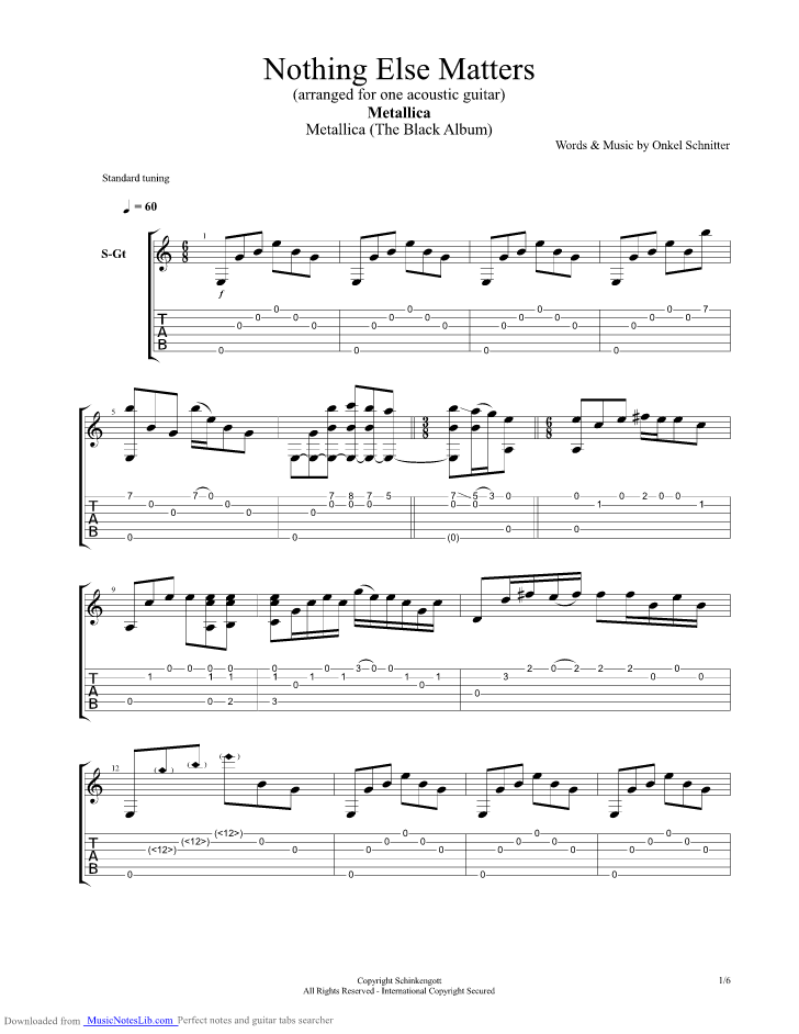 Nothing Else Matters Arranged For One Acoustic Guitar Guitar Pro Tab By Metallica Musicnoteslib Com