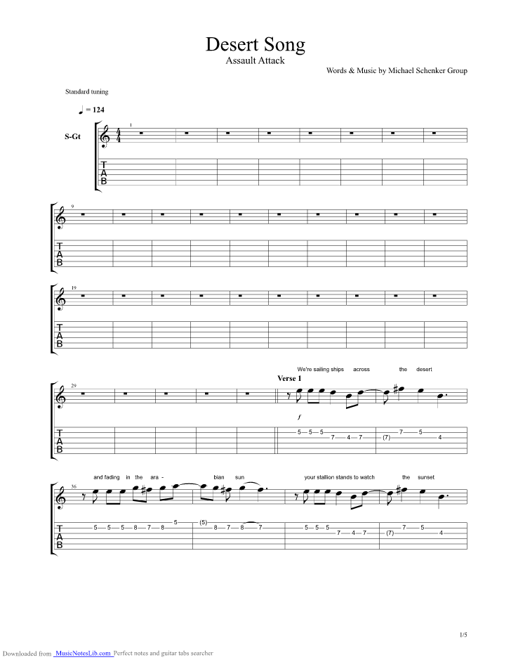 Desert Song guitar pro tab by Michael Schenker Group @ musicnoteslib.com