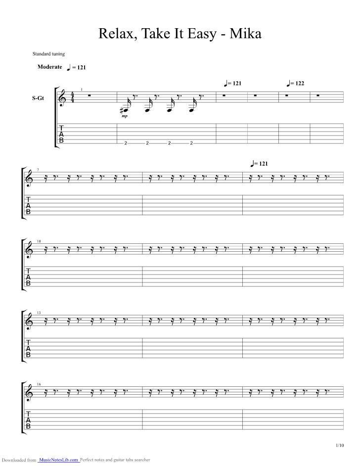 take it easy chords pdf