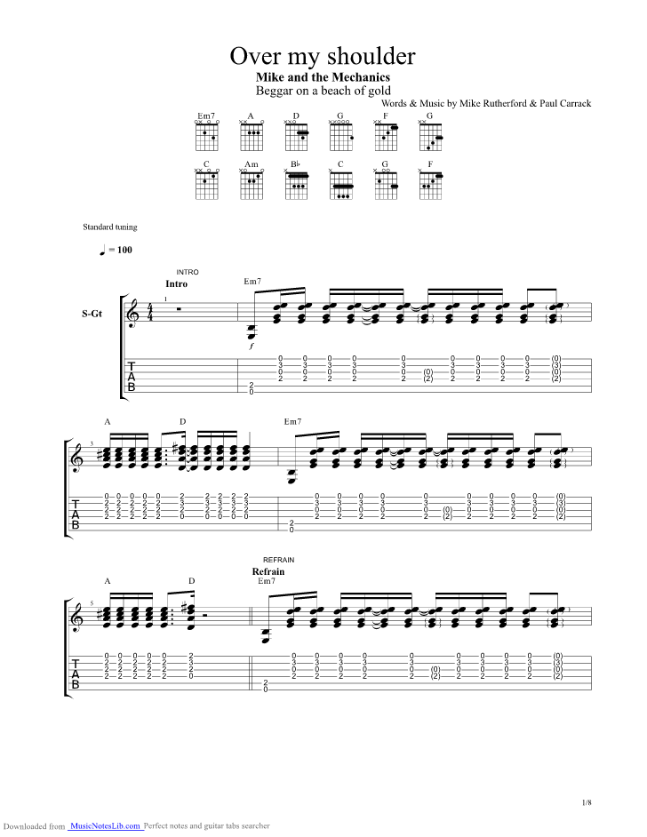 Over my shoulder ukulele chords mike and the mechanics.