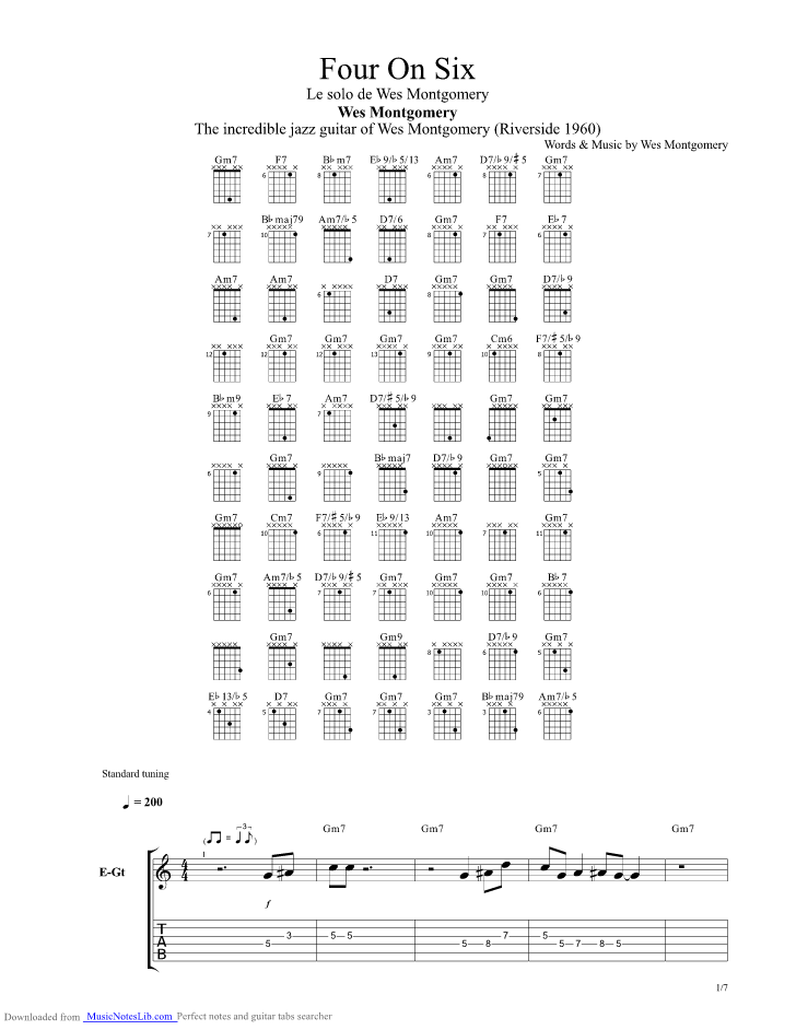 Four On Six guitar pro tab by Wes Montgomery @ musicnoteslib.com