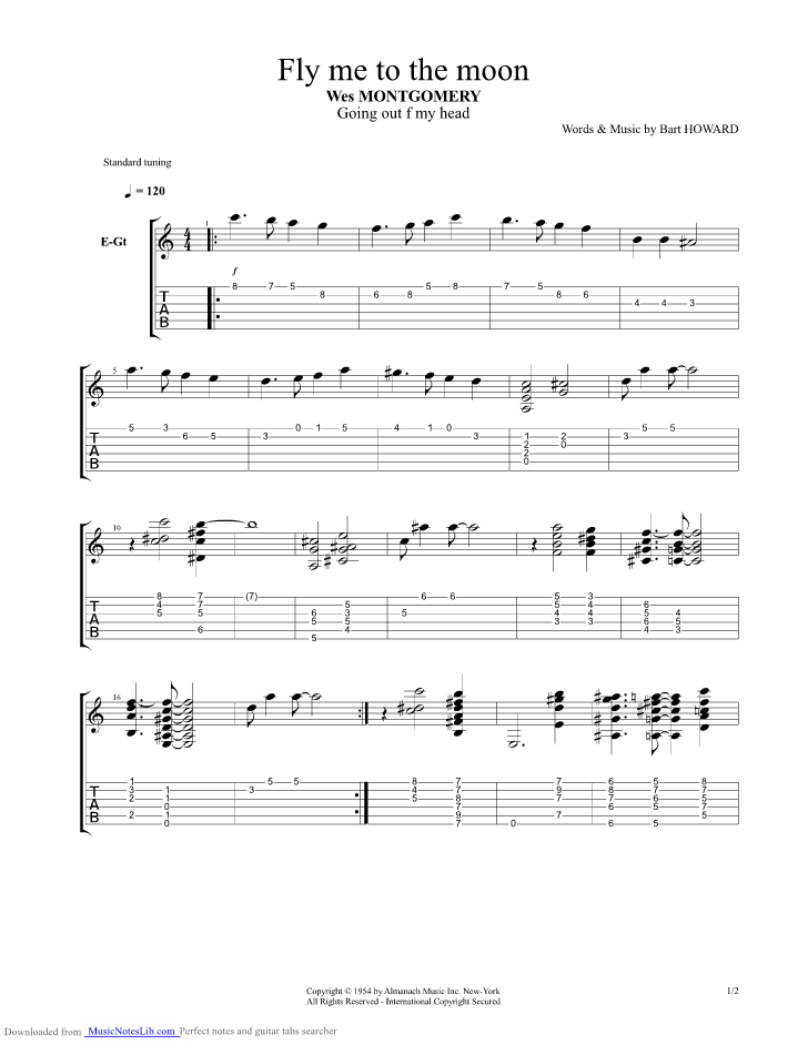 Fly Me To The Moon guitar pro tab by Wes Montgomery @ musicnoteslib com