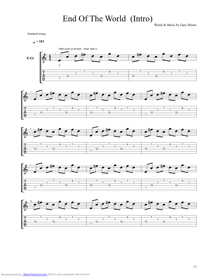 End Of The World Intro Guitar Pro Tab By Gary Moore Musicnoteslib