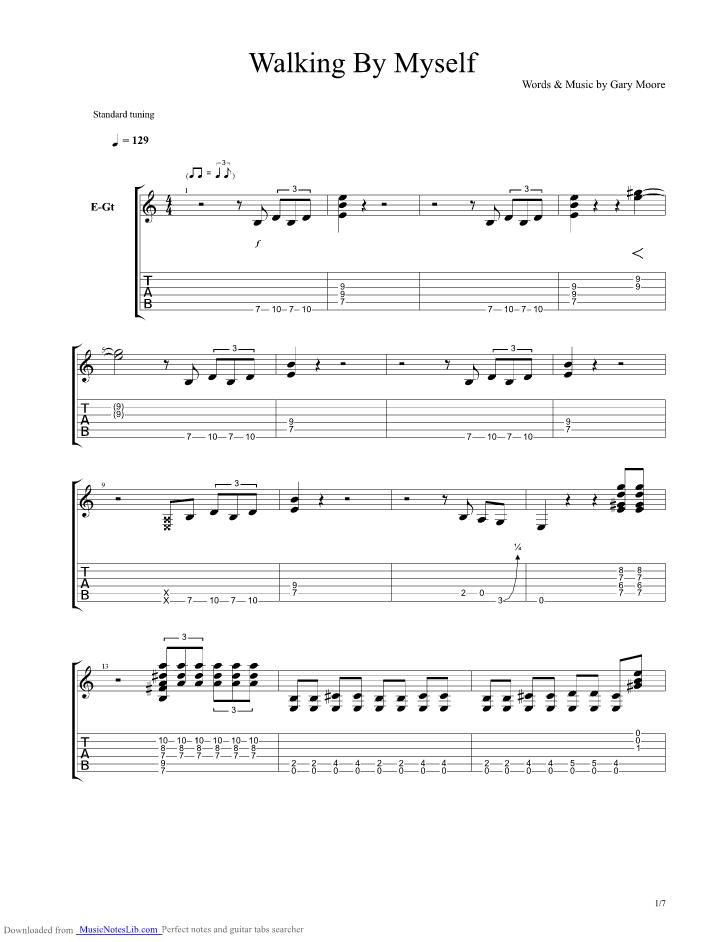 Walking By Myself Guitar Pro Tab By Gary Moore Musicnoteslib