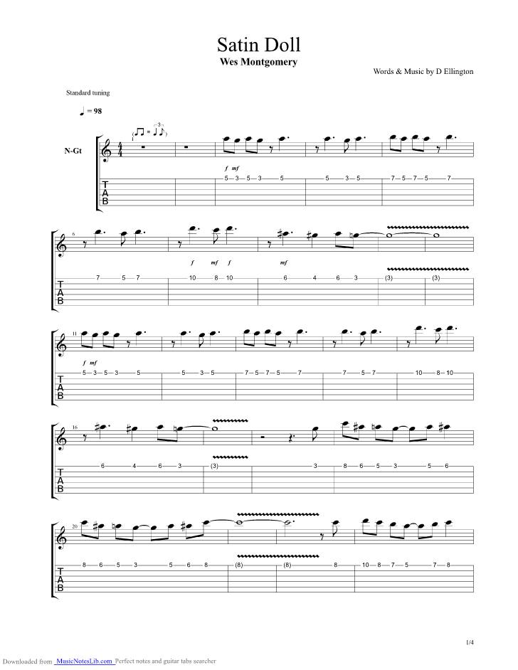 Satin Doll Guitar Pro Tab By Wes Montgomery Musicnoteslib