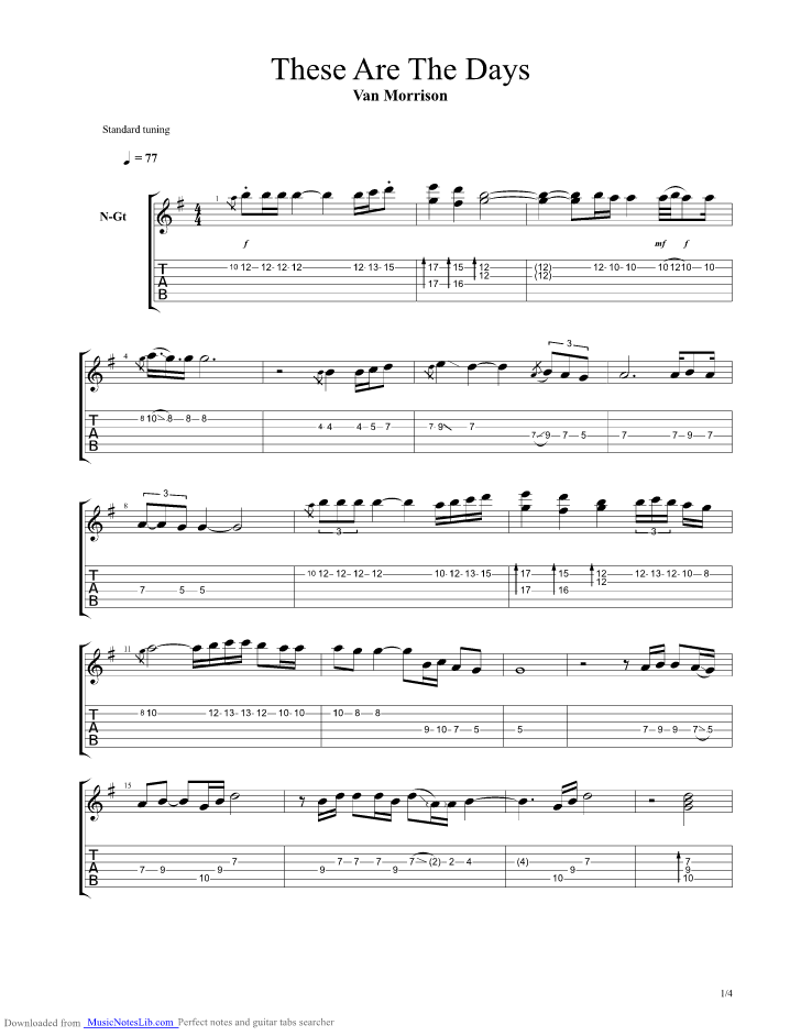 these are the days guitar pro tab by van morrison. Black Bedroom Furniture Sets. Home Design Ideas
