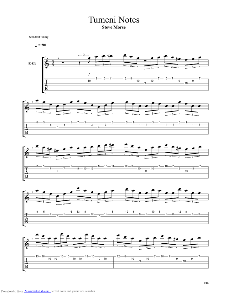 Tumeni Notes Guitar Pro Tab By Steve Morse Musicnoteslib