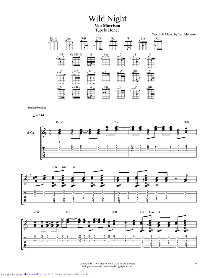 Wild Night guitar pro tab by Van Morrison @ musicnoteslib.com