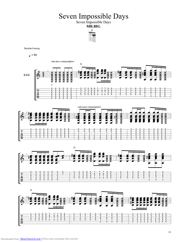 Seven Impossible Days guitar pro tab by Mr Big @ musicnoteslib.com