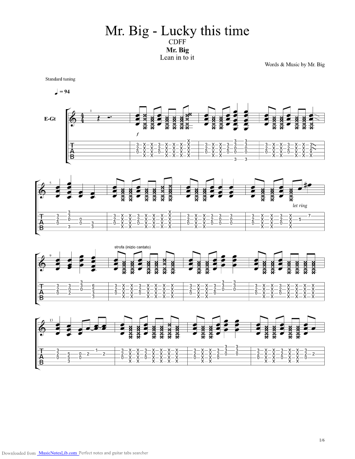 Lucky This Time guitar pro tab by Mr Big @ musicnoteslib.com