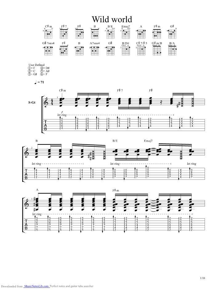Wild World Guitar Pro Tab By Mr Big Musicnoteslib